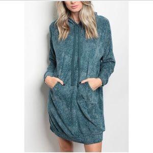 Dresses & Skirts - LAST ONE!! Hooded Blue Sweater Dress